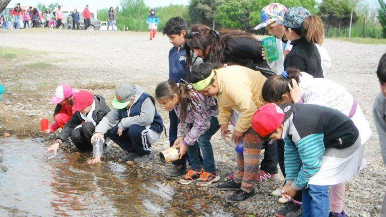 Los chicos se entusiasmaron al liberar los alevinos en el Limay.