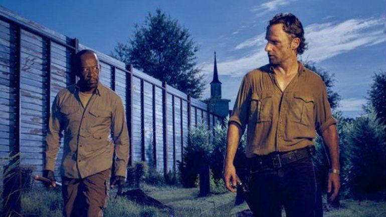 Rick Grimes y Lennie James en la sexta temporada de la serie.