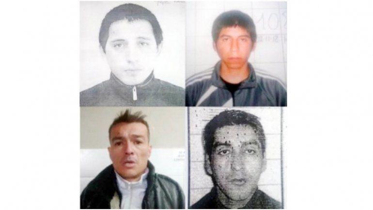 Los cuatro delincuentes fugados de la cárcel de la capital rionegrina.