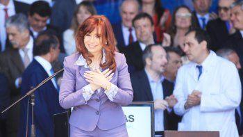 Cristina Fernández, ayer, durante un acto en el hospital Posadas.