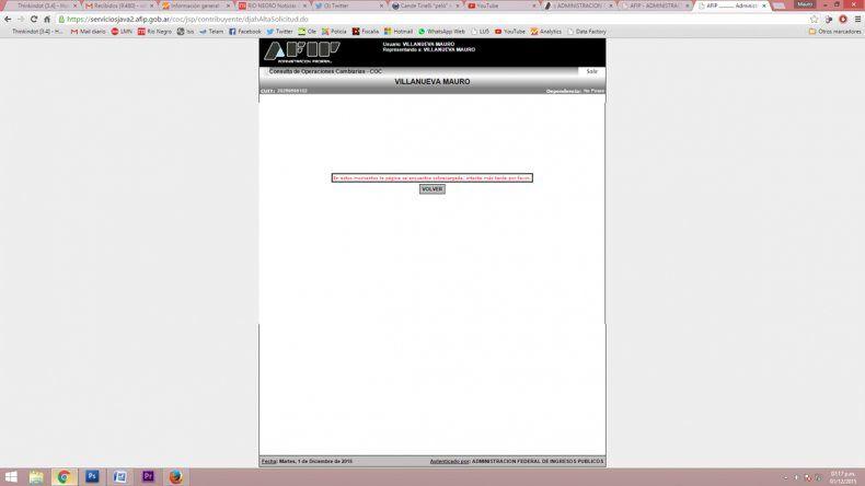 La AFIP explicó que su sitio web no está preparado para responder a un movimiento de solicitudes como el de ayer.