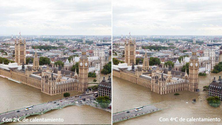 El Parlamento y el Big Ben de Londres en medio del agua. La Municipalidad de Durban (arriba
