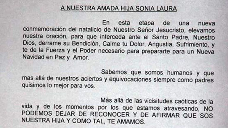 La carta que le envió la jueza de Paz de Junín a su hija.