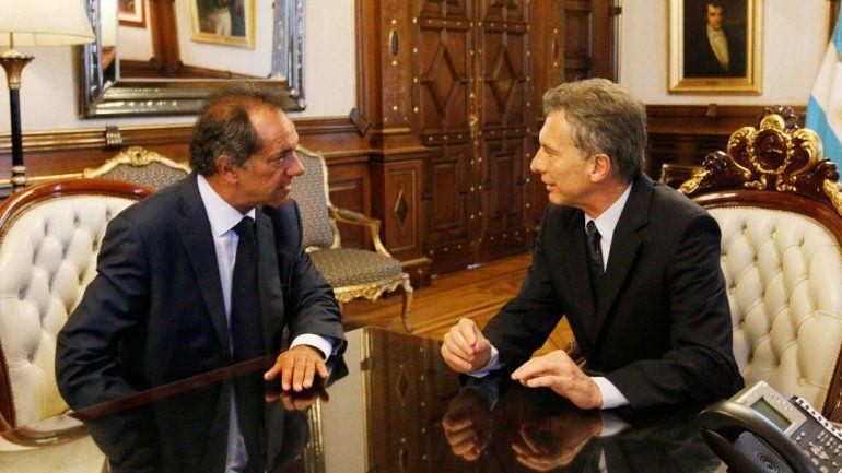 Mauricio Macri recibió ayer en la Casa Rosada a Daniel Scioli