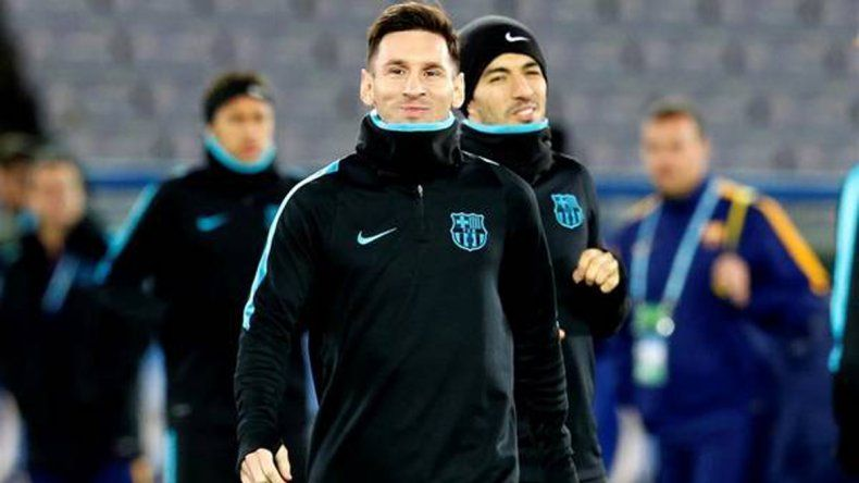 Messi y Luis Suárez en el entrenamiento del sábado.