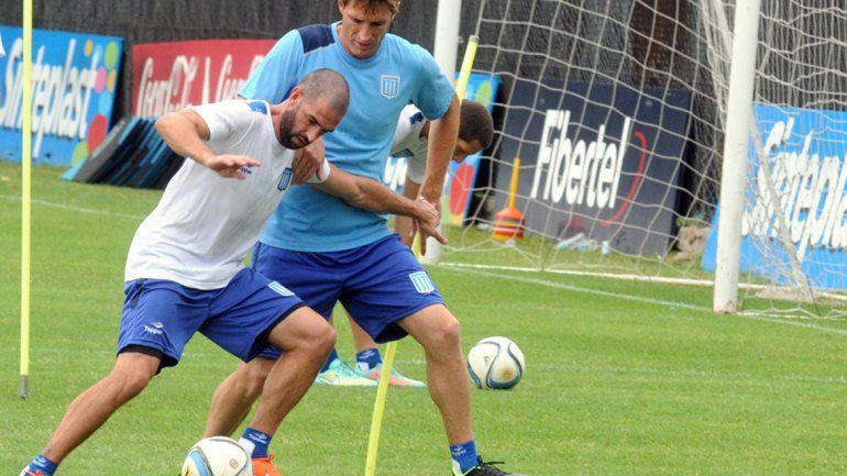 López y Sava en el primer entrenamiento de Racing.