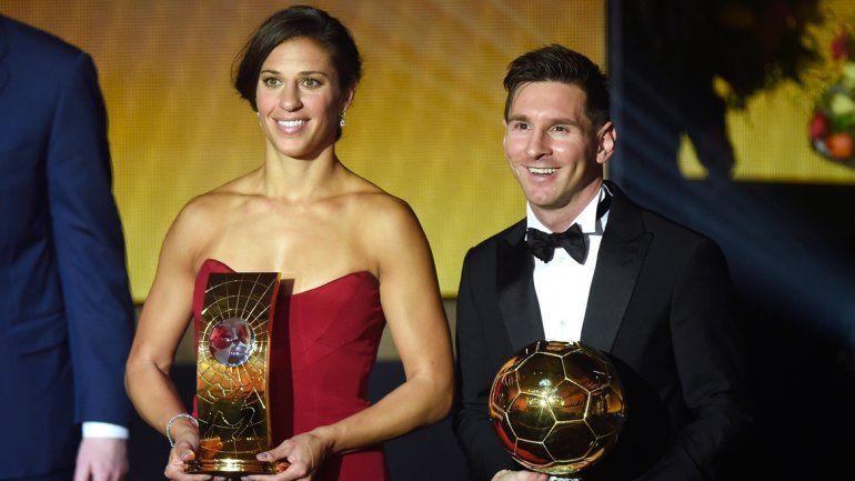 Messi junto a la norteamericana Carli Lloyd