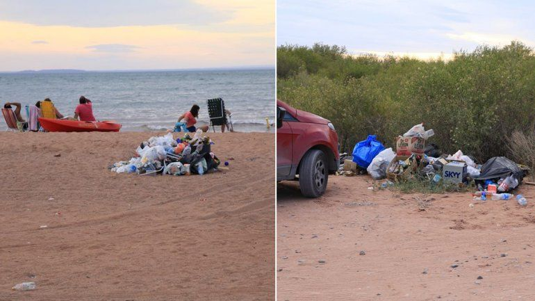Así quedó la playa de Los Barreales tras una fiesta que se realizó el sábado
