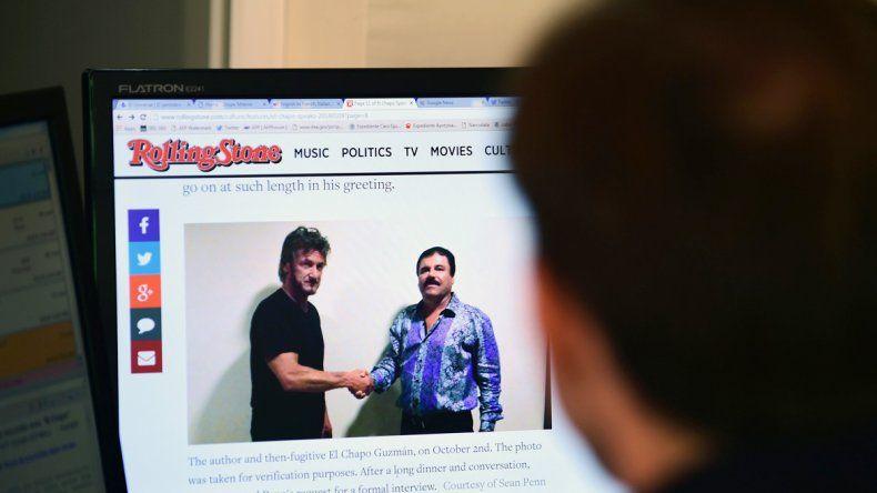 La foto del actor y el narcotraficante en Rolling Stone.