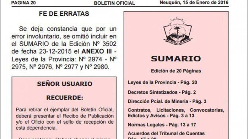 La fe de erratas publicada en la edición del Boletín Oficial del 15 de enero.
