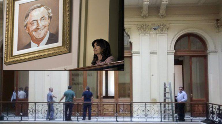 El Gobierno descolgó cuadros de Néstor Kirchner y Hugo Chávez