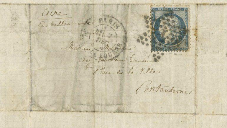 El sobre en el que fue enviada la carta durante el sitio de París en la guerra franco-prusiana.