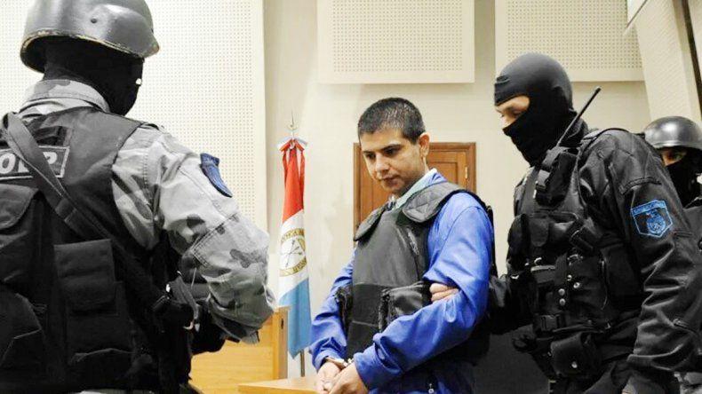 Chamorro en una de las audiencias en el juzgado federal de Rosario. Luego fue trasladado a Ezeiza y de allí a Neuquén.