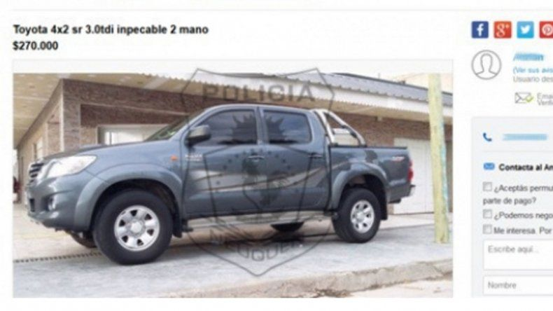 La Toyota Hilux con la que pretendían estafar a la víctima.
