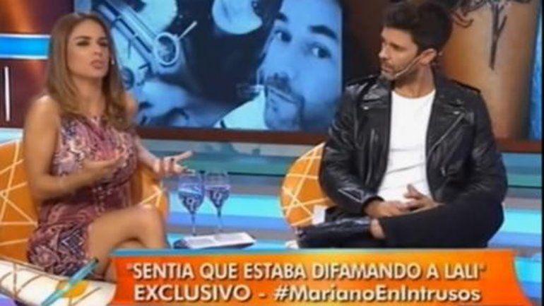 Mariano en el living de Intrusos con Marina Calabró dando su versión de la sorprendente ruptura con Lali.