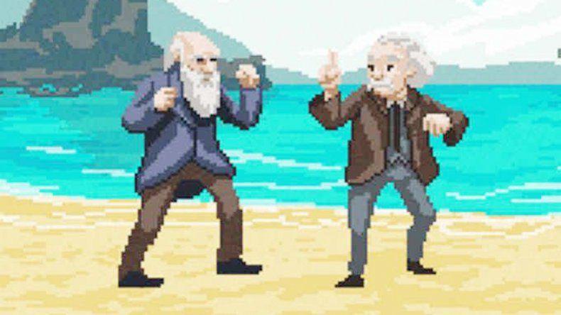 Así se enfrentan Darwin y Einstein.