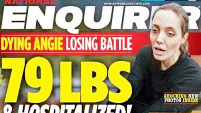 The National Enquirer publicó en su portada  -el mes pasado-  el estado desesperante de Jolie