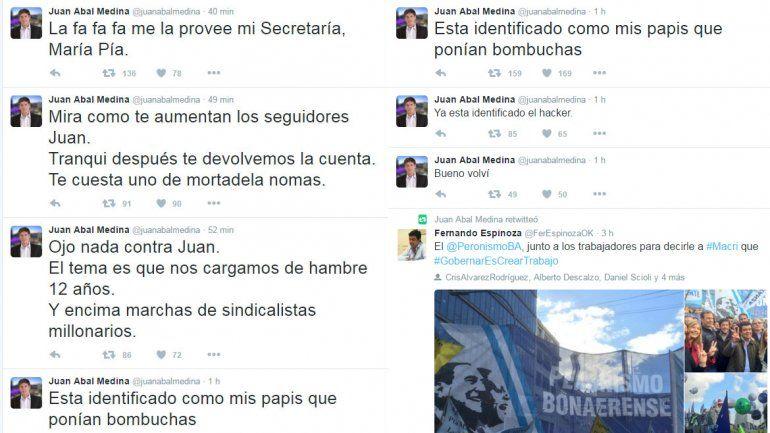 Hackearon el Twitter de Abal Medina y publicaron mensajes insólitos