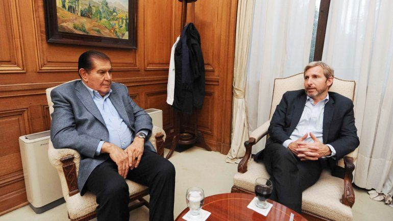 Pereyra se reunió con el ministro Frigerio para calmar el clima conflictivo.