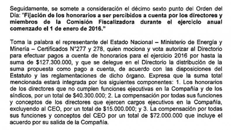 Galuccio cobró 72 millones de pesos para dejar YPF