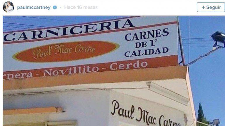 La imagen de la carnicería Paul Mac Carne que el propio músico difundió en su cuenta de Instagram.