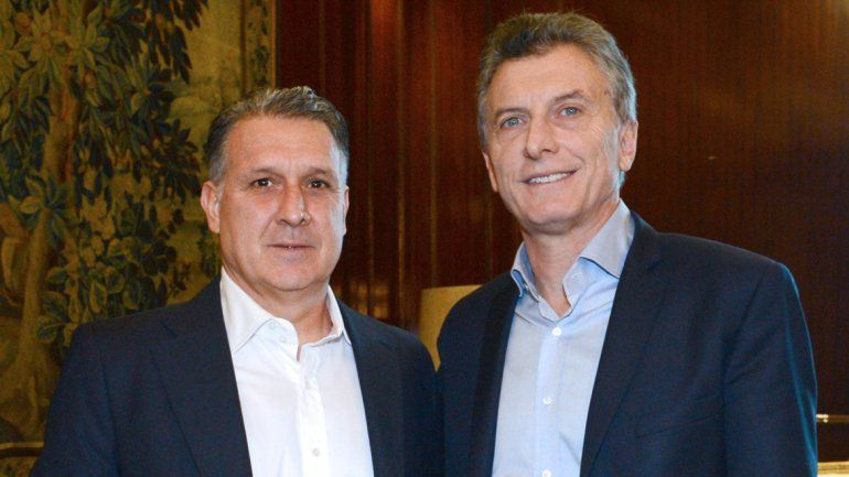 Mauricio Macri con Gerardo Tata Martino