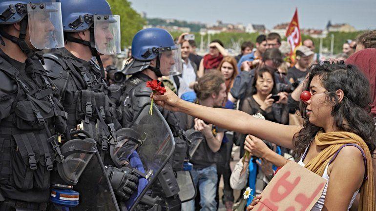 Una manifestante