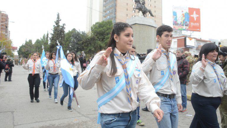 Los Scouts también participaron del desfile.