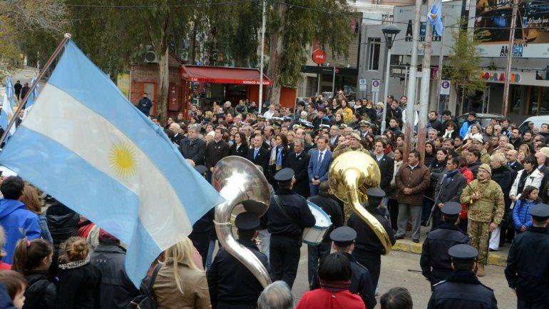 Músicos de las Policía participaron del acto.
