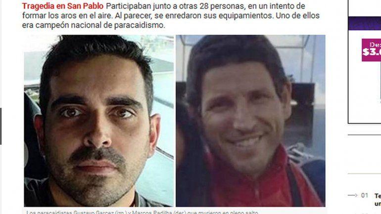 Las víctimas: dos paracaidistas brasileños de mucha experiencia.