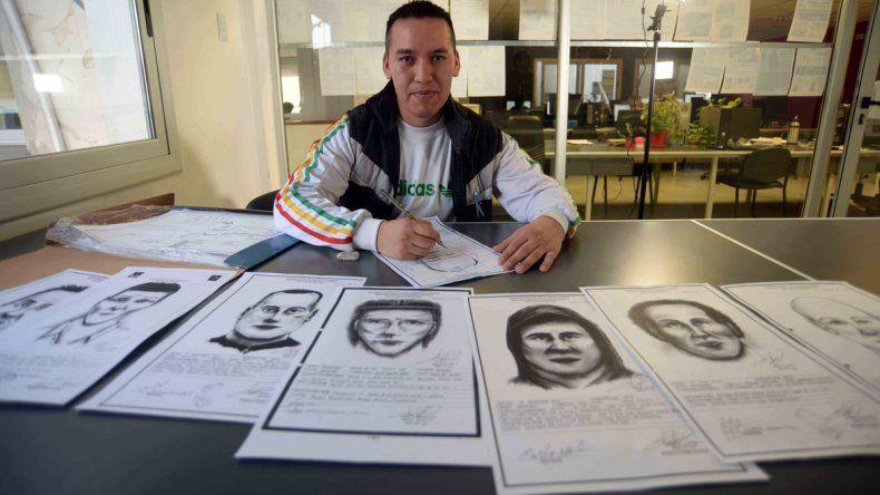 El dibujante muestra los bocetos en los que trabajó en su corta carrera en el Departamento de Criminalística de la Policía de Neuquén. Su habilidad fue todo un hallazgo para la fuerza.