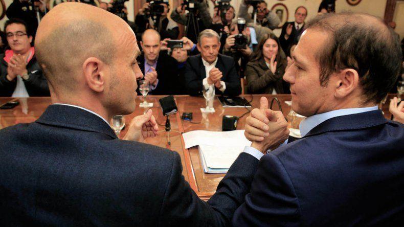 Omar Gutiérrez junto al ministro de Transporte