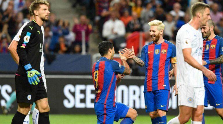 Messi tuvo un destacado papel en el partido frente a Leicester