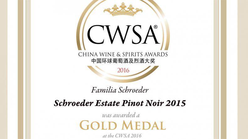 Tres vinos de Bodega  Familia Schroeder, premiados en el CWSA 2016