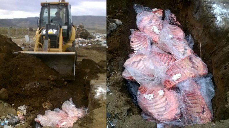 Enterraron en el basurero los 500 kilos de carne ilegal