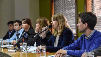 Concejales del MPN, en la conferencia de prensa de ayer.