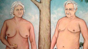 polemica pintura muestra al pepe mujica desnudo con su esposa