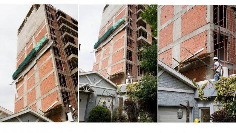 Casi una tragedia: el viento tiró una bandeja de contención de obra y rompió un techo