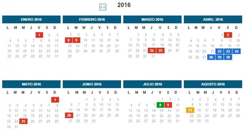 En el 2016 habrán 17 feriados y 9 fines de semana largos