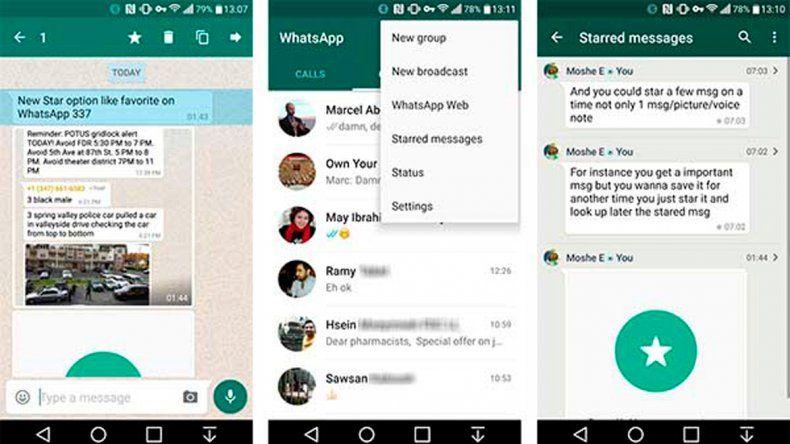WhatsApp ya permite marcar sus mensajes como favoritos