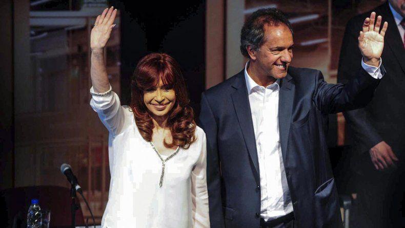Cristina junto a Daniel Scioli.