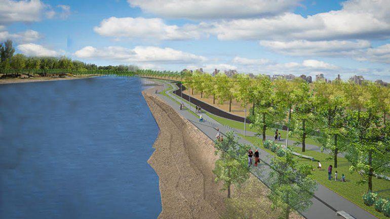 Una vista general de cómo quedará la costa del Limay con la nueva obra.