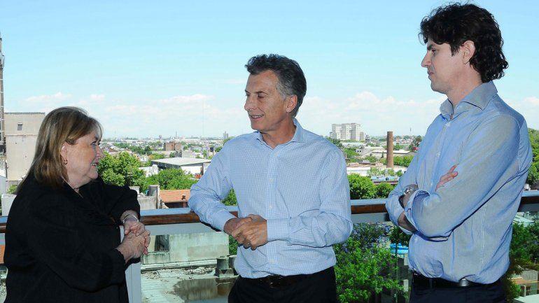 Macri con la canciller y Lousteau.