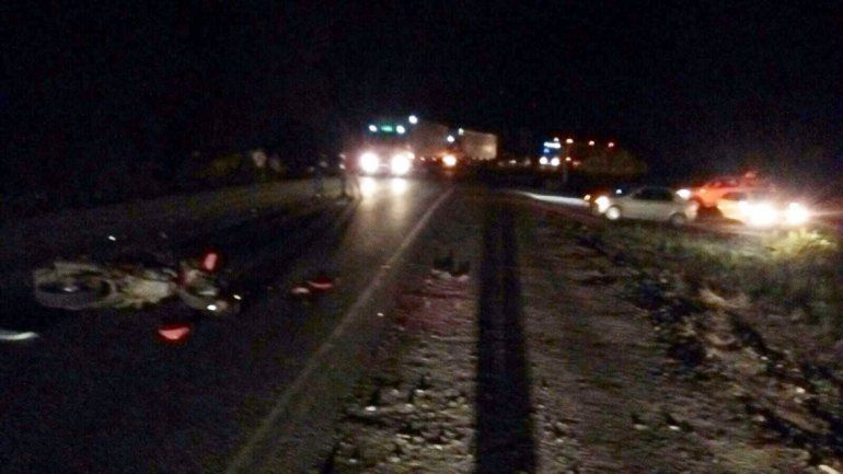 La Motomel 200 cc quedó tendida sobre el asfalto de la Ruta 40. El motociclista fue atendido y llevado al hospital