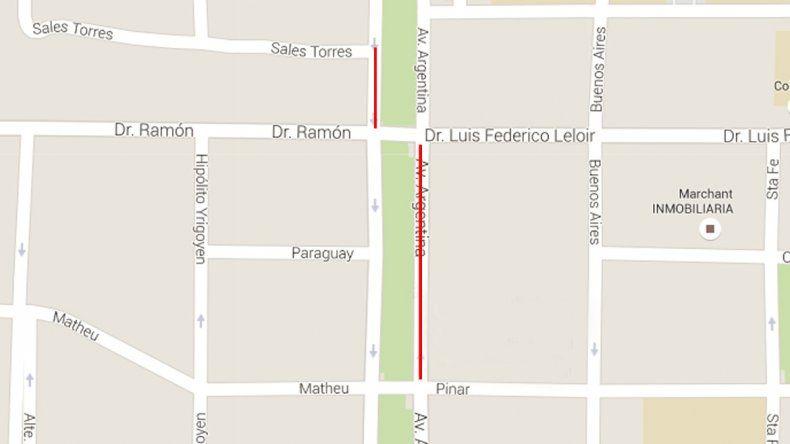 Cortes al tránsito en Avenida Argentina