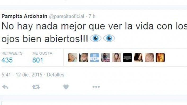 Lapidaria. El tuit que Pampita le mandó a Lío Pecoraro para responder al rumor sobre lo que pasó.
