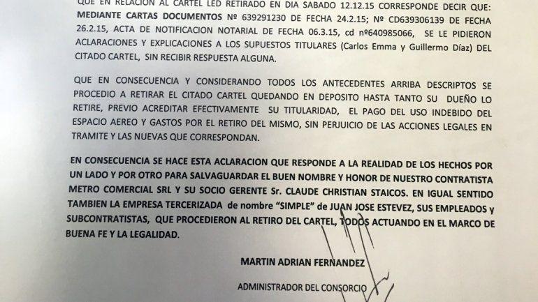 Parte del comunicado enviado por el consorcio del edificio.