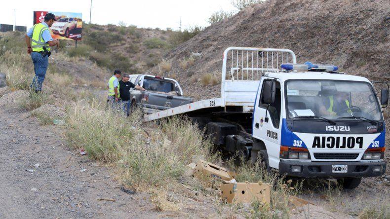 Una camioneta desbarrancó y volcó en la Ruta 7