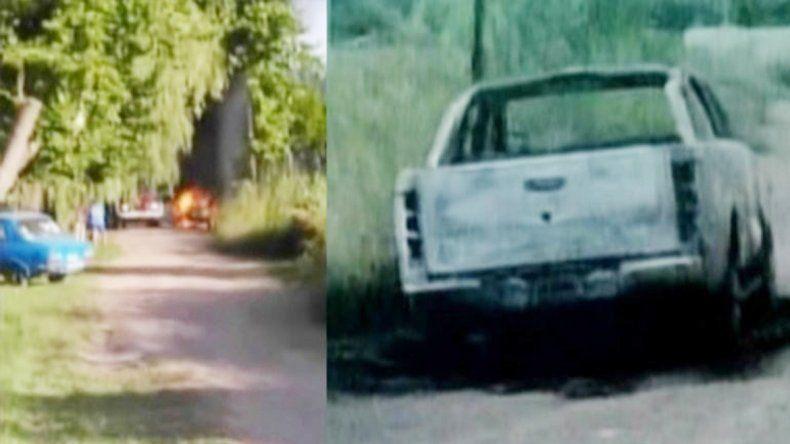 Incendiaron la primera camioneta que usaron.