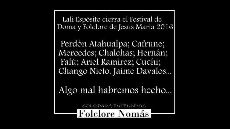 Esta es la foto que circula por las redes para pedir que Lali Espósito no esté en el festival de Jesús María.